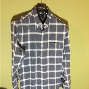 Lucky Brand Large light flannel grey and white